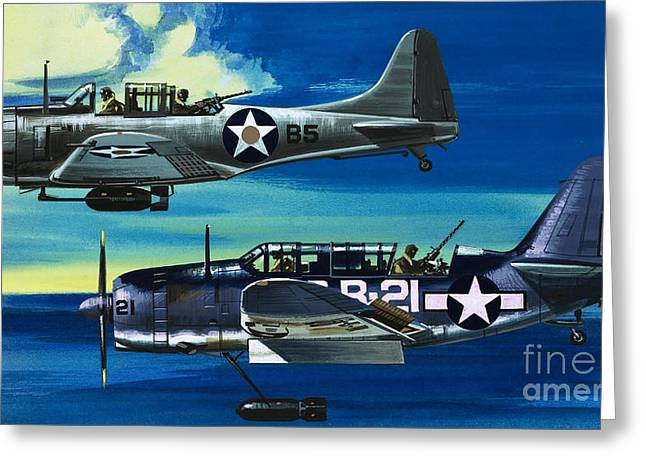 American Ww2 Planes Douglas Sbd1 Dauntless And Curtiss Sb2c1 Helldiver Greeting Card by Wilf Hardy