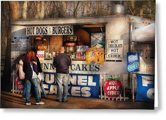 Americana - Food - Hot Dogs And Funnel Cakes Greeting Card by Mike Savad