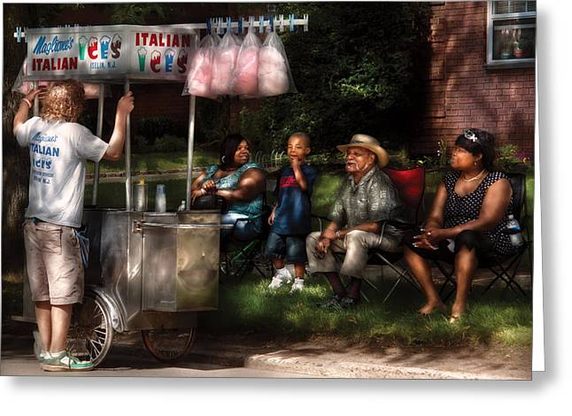 Americana - People - Buying Treats Greeting Card by Mike Savad