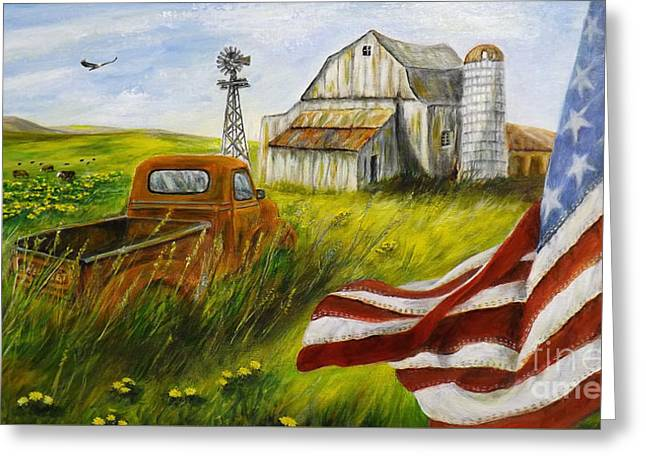 Americana Greeting Card by Donna Vesely