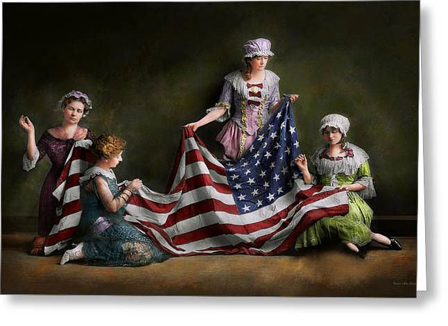 Americana - Flag - Birth Of The American Flag 1915 Greeting Card by Mike Savad