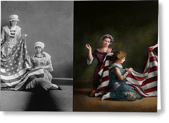 Americana - Flag - Birth Of The American Flag 1915 - Side By Side Greeting Card