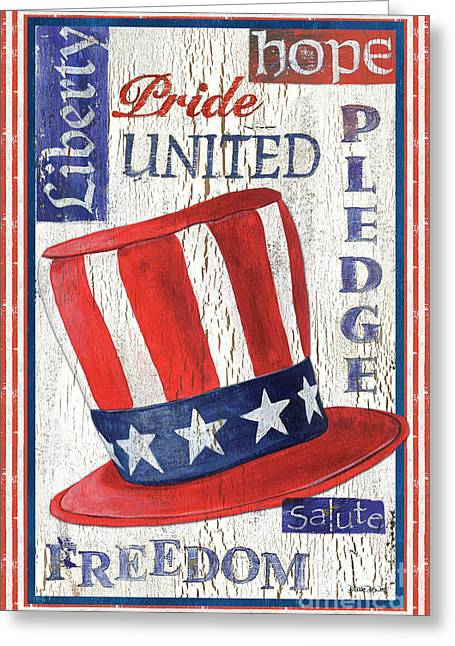 Americana Patriotic Greeting Card by Debbie DeWitt