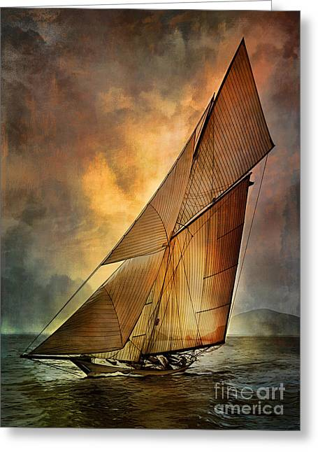 Greeting Card featuring the digital art America's Cup 1 by Andrzej Szczerski