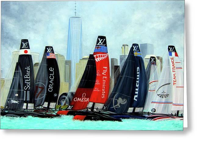 America's Cup New York City Greeting Card by Leonardo Ruggieri