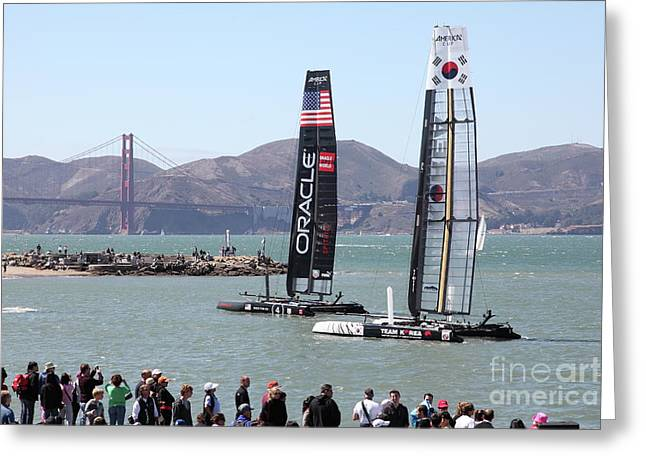 America's Cup Racing Sailboats In The San Francisco Bay 5d18253 Greeting Card