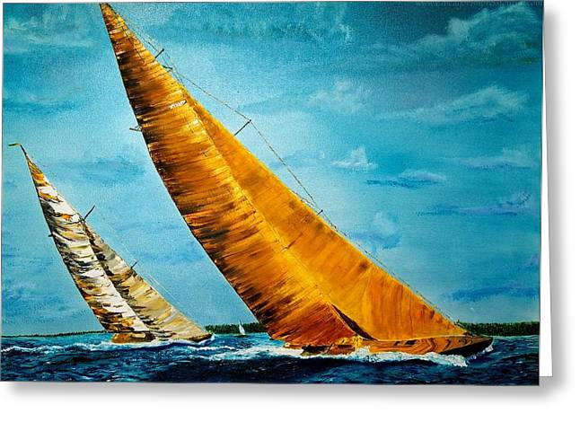 Americas Cup Sailboat Race Greeting Card by Gregory Allen Page