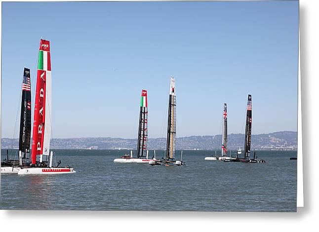 America's Cup Sailboats In San Francisco - 5d18205 Greeting Card by Wingsdomain Art and Photography