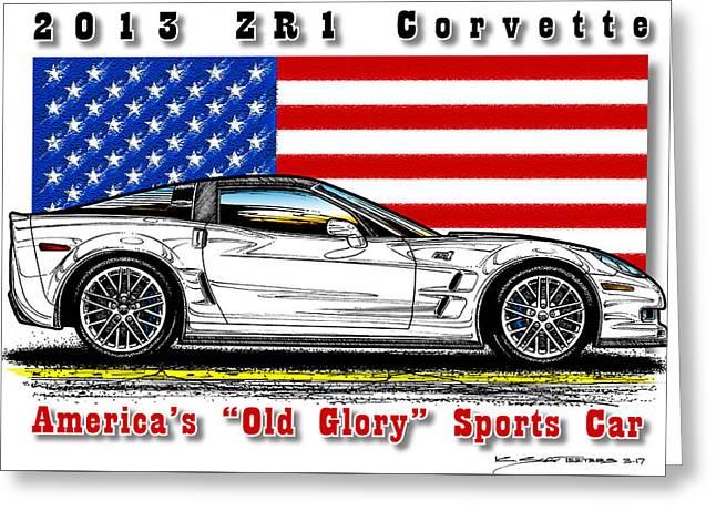 America's Old Glory 2013 Zr1 Corvette Greeting Card