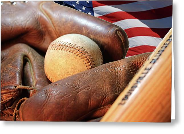 Americas Pastime Greeting Card by Pat Cook