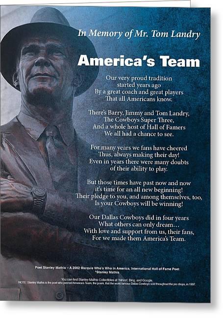America's Team Poetry Art Greeting Card by Stanley Mathis