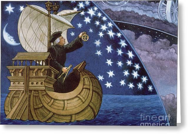Amerigo Vespucci Navigating By The Stars On His 3rd Voyage Greeting Card