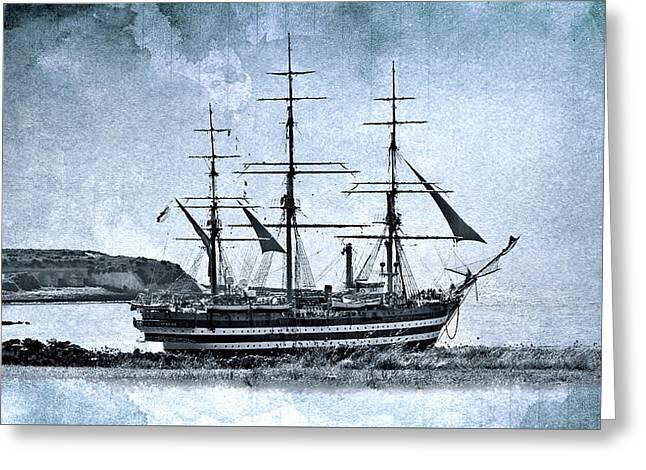 Amerigo Vespucci Sailboat In Blue Greeting Card by Pedro Cardona Llambias