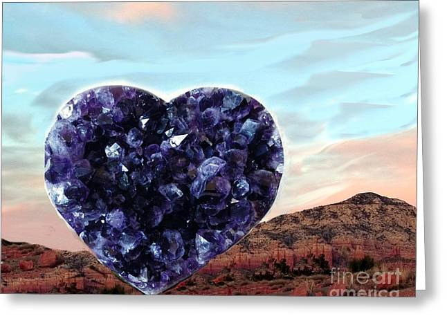 Amethyst Vortex Heart Sedona Greeting Card by Marlene Rose Besso