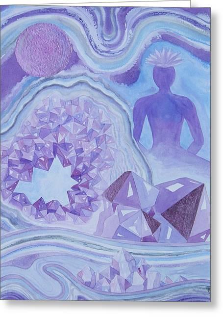 Crown Chakra Greeting Cards - Amethyst Crown Chakra Greeting Card by Jennifer Baird