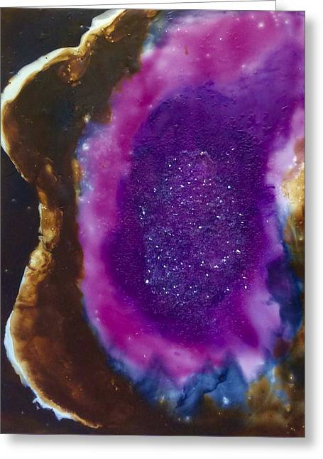 Amethyst Encaustic Abstract Greeting Card