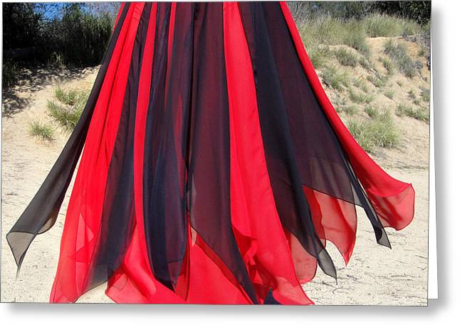 Ameynra Belly Dance Skirt. Red-black 24 Greeting Card by Sofia Metal Queen