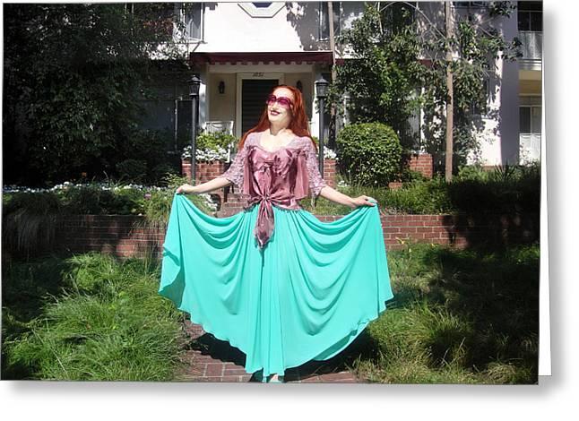 Ameynra Fashion. Aqua-n-pink. Elegance Greeting Card