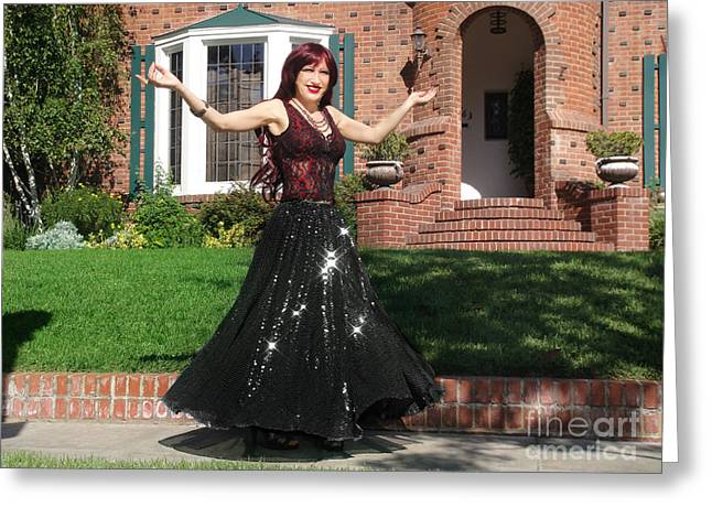 Ameynra Fashion. Model Sofia Metal Queen. Sparkling Dance Greeting Card by Sofia Metal Queen