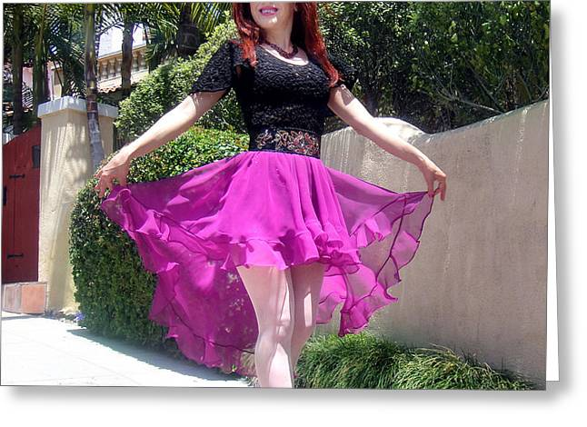 Ameynra Fashion, Pink-black Mood. Model Sofia Metal Queen Greeting Card by Sofia Metal Queen