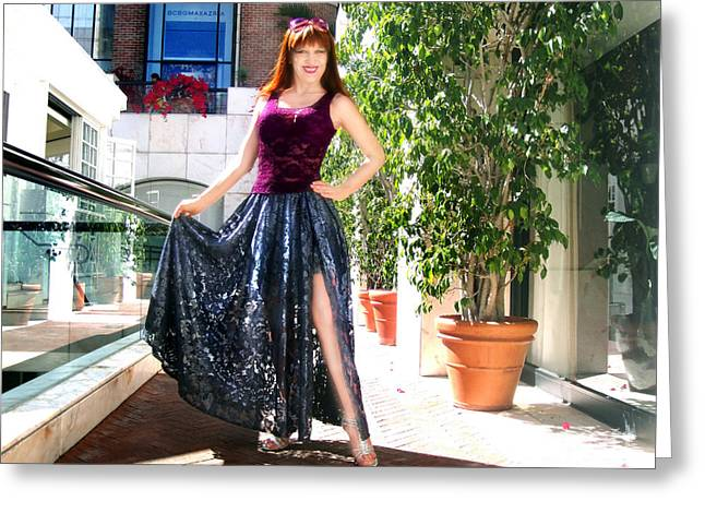 Ameynra Fashion. Silver Lace Skirt Greeting Card by Sofia Metal Queen