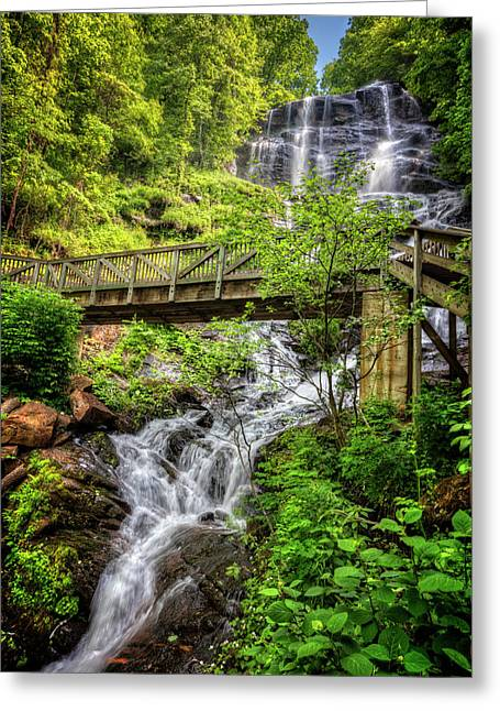 Greeting Card featuring the photograph Amicalola Falls Top To Bottom by Debra and Dave Vanderlaan