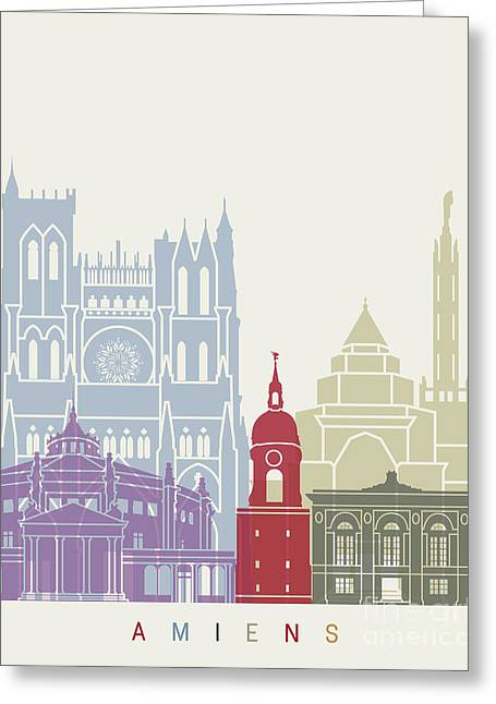 Amiens Skyline Poster Greeting Card