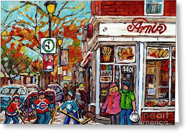 Amir Rue Wellington Verdun Restaurant Painting Hockey Art Canadian City Scene Carole Spandau         Greeting Card by Carole Spandau