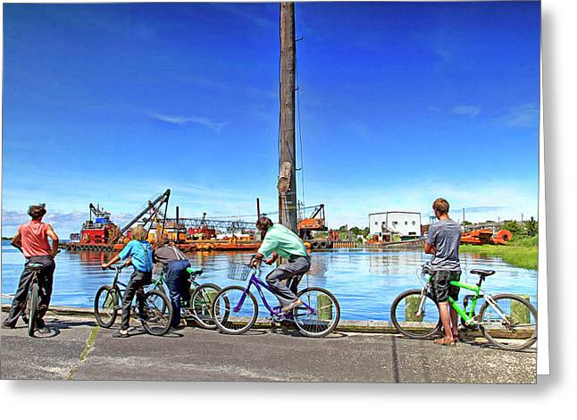 Amish Boys Watching Construction Across The Bay Greeting Card by Geraldine Scull
