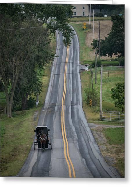 Amish Buggy Strasburg Pa Greeting Card by Jim Pearson