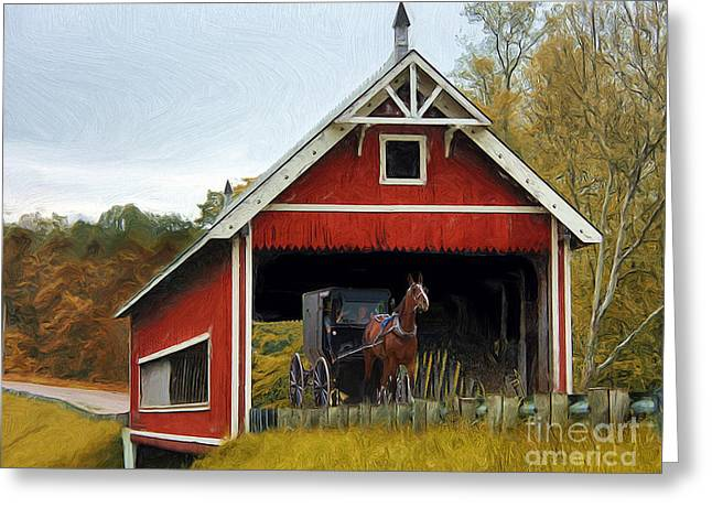 Amish Era Greeting Card by Tom Griffithe