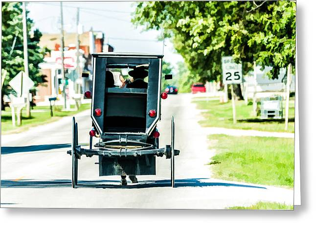 Amish Family Going To Town Greeting Card