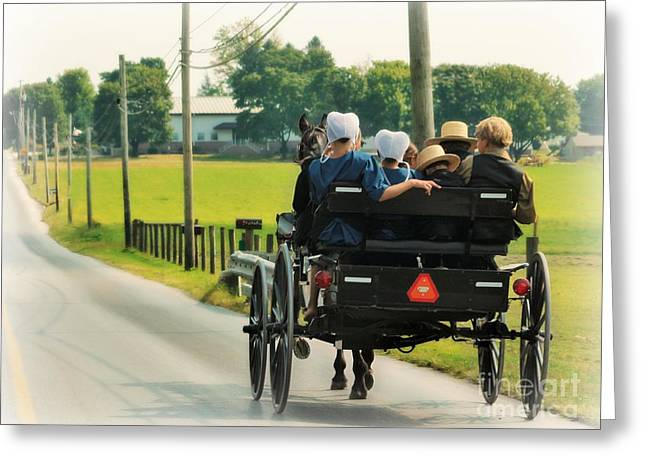 Amish Family Travelling With Horse And Buggy Greeting Card by Beth Ferris Sale