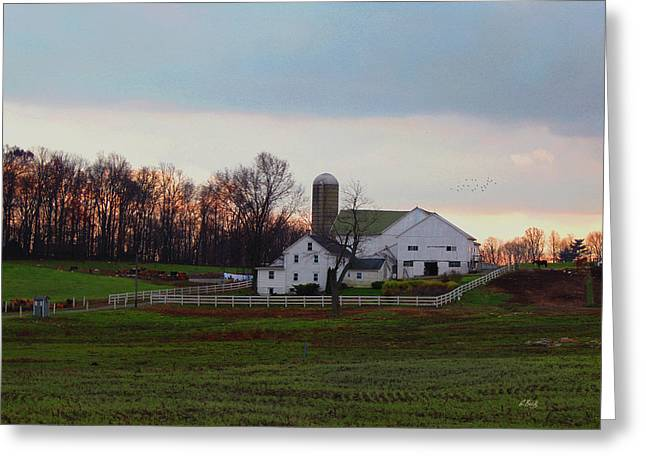 Amish Farm At Dusk Greeting Card by Gordon Beck