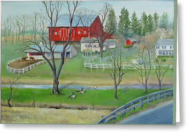 Greeting Card featuring the painting Amish Farm by Oz Freedgood