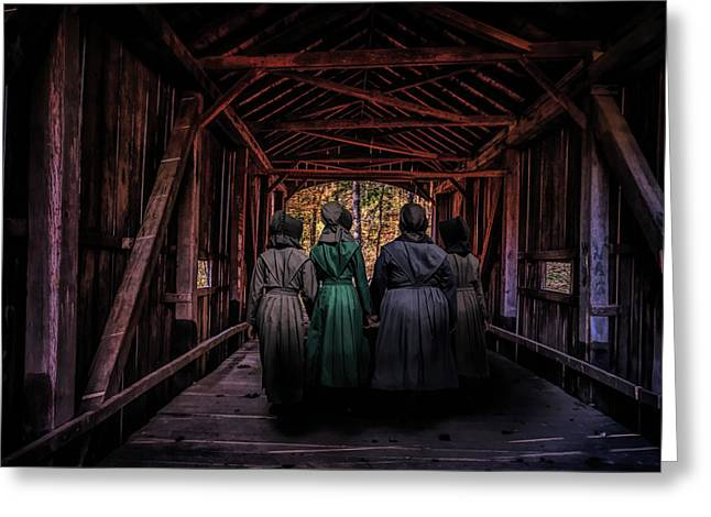 Amish Girls In Covered Bridge Greeting Card