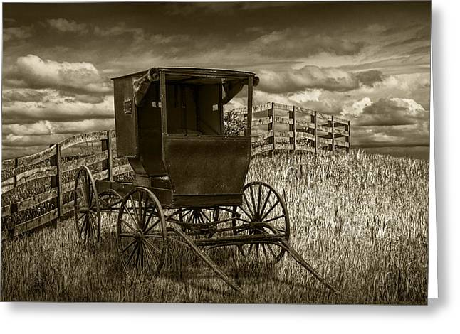 Amish Horse Buggy In Sepia Tone Greeting Card