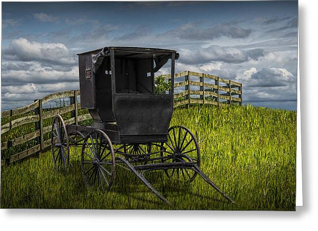 Amish Horse Buggy Greeting Card by Randall Nyhof