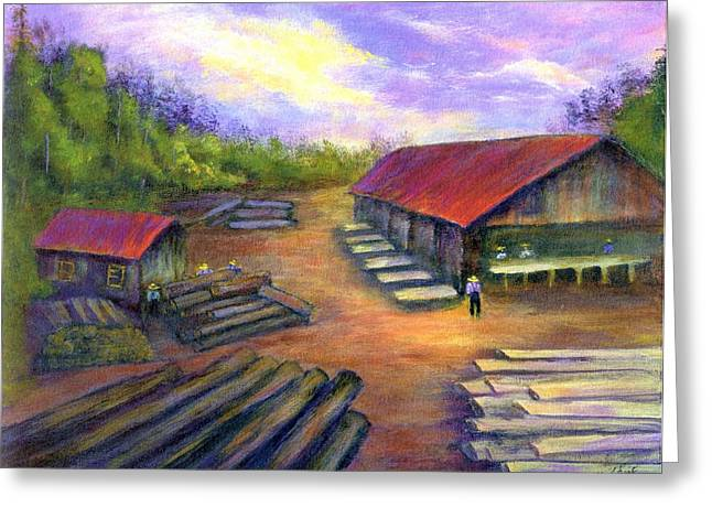 Greeting Card featuring the painting Amish Lumbermill by Gail Kirtz