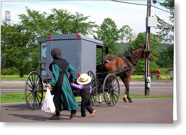 Amish Mother And Son Greeting Card by George Jones