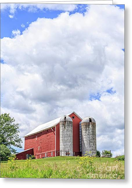 Amish Red Barn And Silos Greeting Card