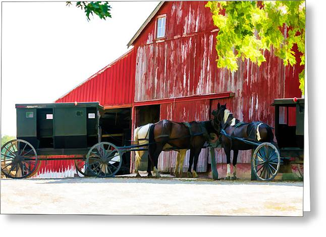 Amish Red Barn Greeting Card
