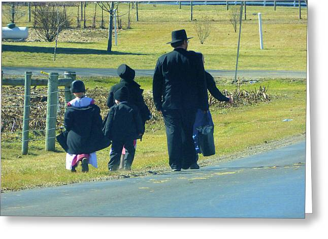 Amish Sunday 1 Of 5 Greeting Card by Tina M Wenger