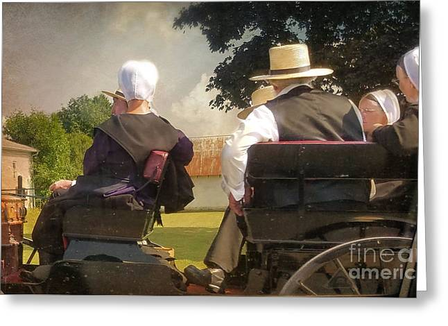 Amish Travelling Greeting Card by Beth Ferris Sale