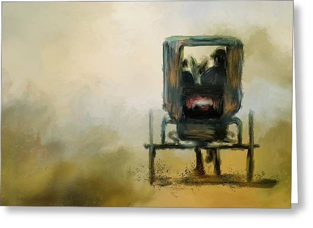 Amish Wagon Greeting Card by Jai Johnson