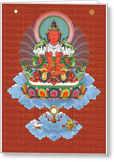 Boddhisatva Greeting Cards - Amitayus with Mantra Greeting Card by Fred Van der Zee