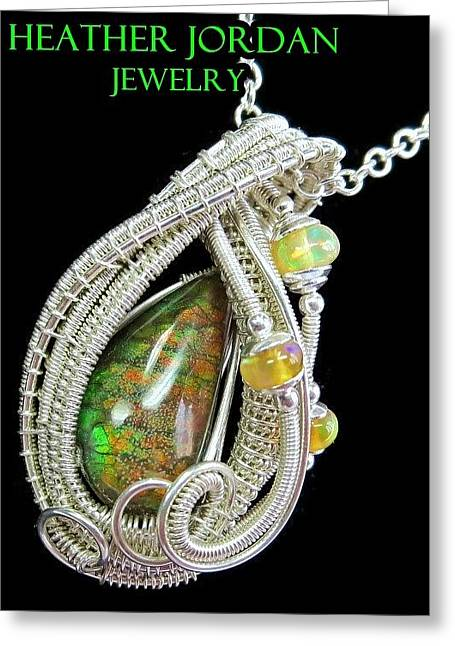 Ammolite And Sterling Silver Wire-wrapped Pendant With Ethiopian Opals Amltpss2 Greeting Card by Heather Jordan