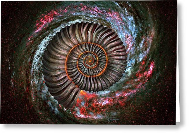 Ammonite Galaxy Greeting Card