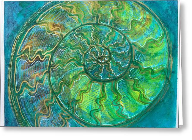 Greeting Card featuring the painting Ammonite Number One by Laurie Maves ART