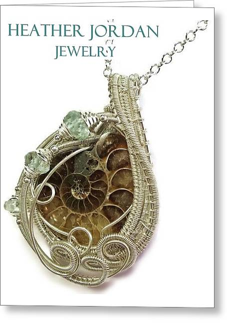 Ammonite Wire-wrapped Pendant In Sterling Silver With Aquamarine Fapss4 Greeting Card by Heather Jordan